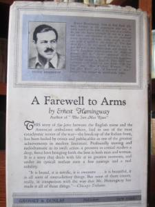 Bio and photo of Ernest Hemingway, with review of the book on rear DJ panel