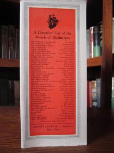 """Novels of Distinction"" listed on front inside flap of dust jacket"