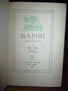 A rare stated First Printing of Bambi, by Felix Saalten, illustrated by Kurt Wiese. (Simon & Schuster, 1928)