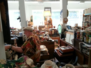 Jeff Pickell at work in his store, Kaleidoscope Books