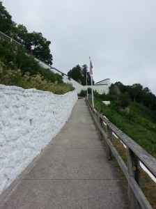 Walkway from the street to Fort Mackinac